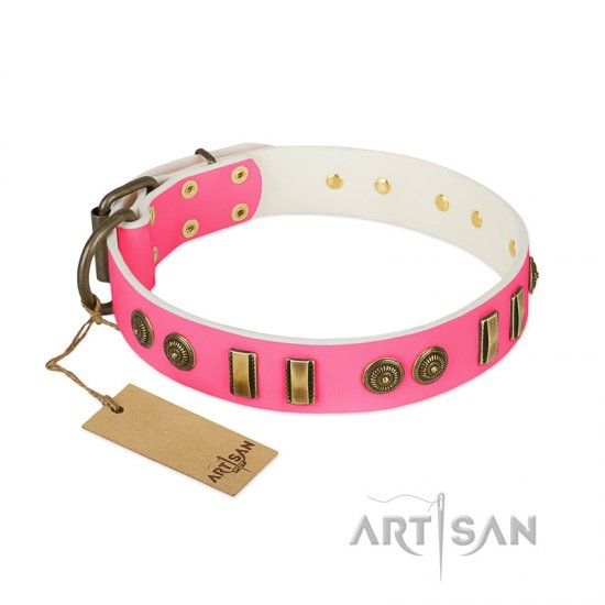 'Pink Amulet' FDT Artisan Leather Dog Collar with Old Bronze-like Plates and Circles - 1 1/2 inch (40 mm) wide