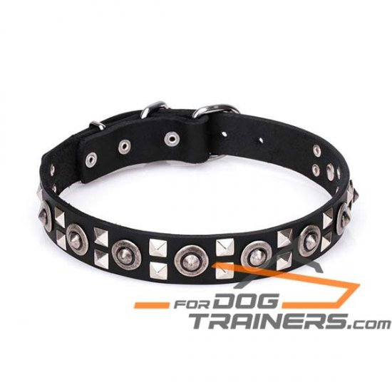 'Spaceman Style' Leather Dog Collar with Chrome Plated Steel Hardware 1 1/5 inch (30 mm) Wide