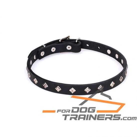 """Trendy Diamonds"" Studded Leather Collar for Dog - 3/4 Inch (20 mm)"