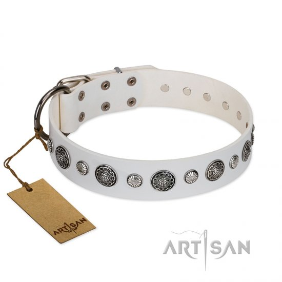 """Fluff-Stuff Beauty"" FDT Artisan White Leather Dog Collar with Silver-like Studs and Conchos - 1 1/2 inch (40 mm) wide"