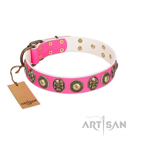 """Two Extremes"" FDT Artisan Pink Leather Dog Collar with Elegant Conchos and Medallions with Skulls"