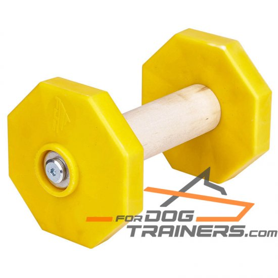 'Retrieve Easy' 1.4 lbs (650 g) Wooden Dog Training Dumbbell with Removable Plastic Yellow Weight Plates