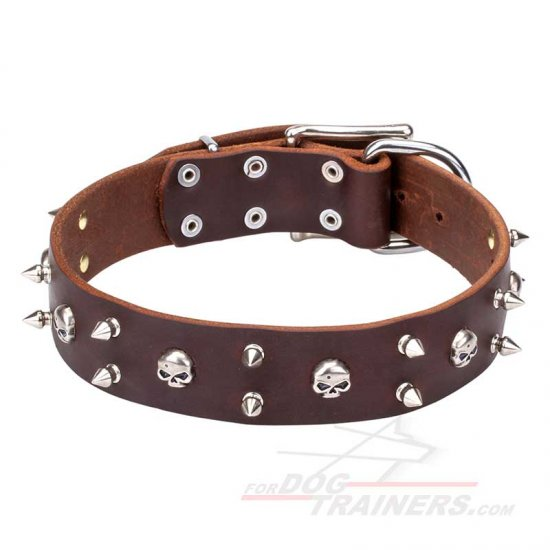 """Blackbeard"" Leather Dog Collar with Skulls and Spikes"