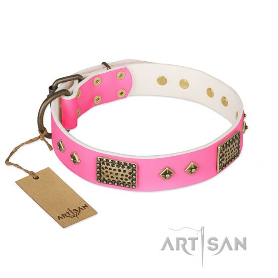 'Frenzy Candy' FDT Artisan Decorated Pink Leather Dog Collar 1 1/2 inch (40 mm) wide