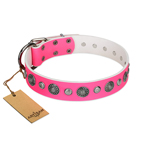 """Glamorous Shine"" FDT Artisan Stylish Leather Dog Collar with Old Silver-like Plated Decorations 1 1/2 inch (40 mm) Wide"