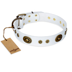"""Magnetic Appeal"" FDT Artisan White Leather Dog Collar with Old Bronze Look Decorations - 1 1/2 inch (40 mm) wide"