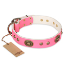 FDT Artisan 'Sensational Beauty' Pink Leather Dog Collar with Old Bronze Look Plates and Studs - 1 1/2 inch (40 mm) wide