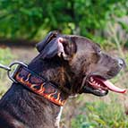 Handpainted Leather Pitbull Collar with Red Fire Flames
