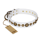 'Swirl of Fashion' FDT Artisan Delicate White Leather Dog Collar with Stunning Bronze-Plated Round Studs