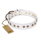 'Midnight Sun' FDT Artisan White Leather Dog Collar with Decorations