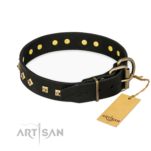 Stylish Black Leather Dog Collar with Studs