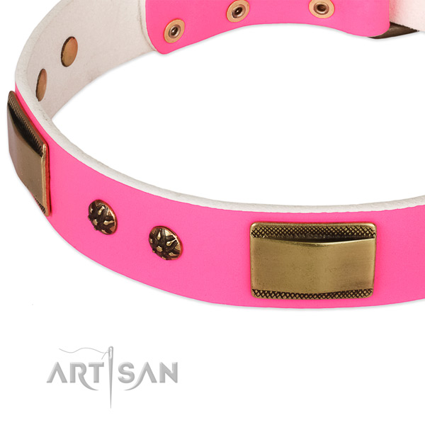 Pink Leather Dog Collar of Fashionable Design