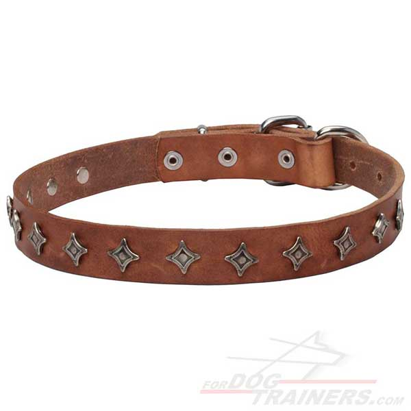 Leather Dog Collar with Rust Resistant Metal Parts