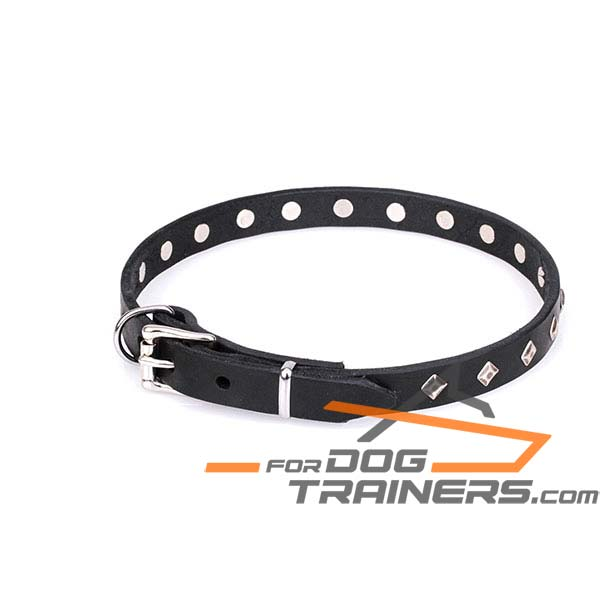 Trendy Leather Dog Collar with Super Strong D-Ring