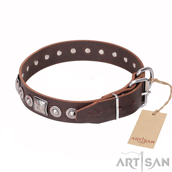 Trendy Dog Collar Decorated with Chrome-plated Fittings
