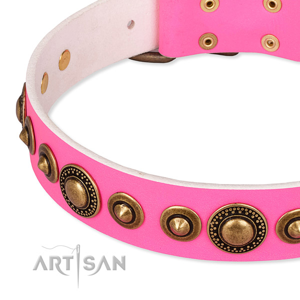 Pink Leather Dog Collar for Comfy Wearing