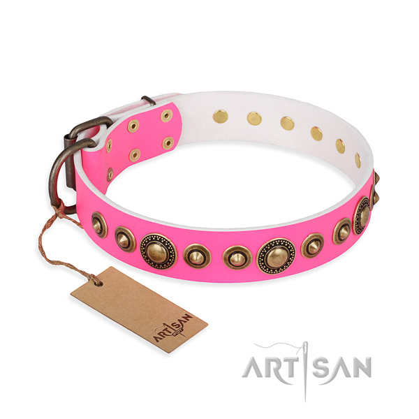 Pink Leather Dog Collar with Old-Bronze Plated Adornments