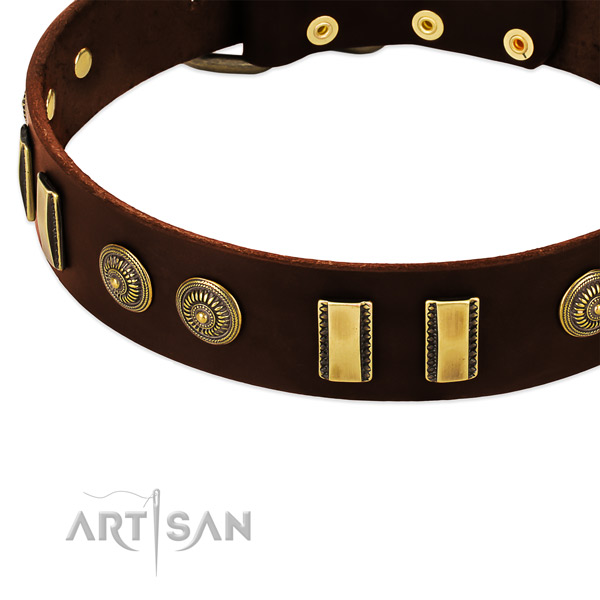 Comfy brown leather dog collar with decorations