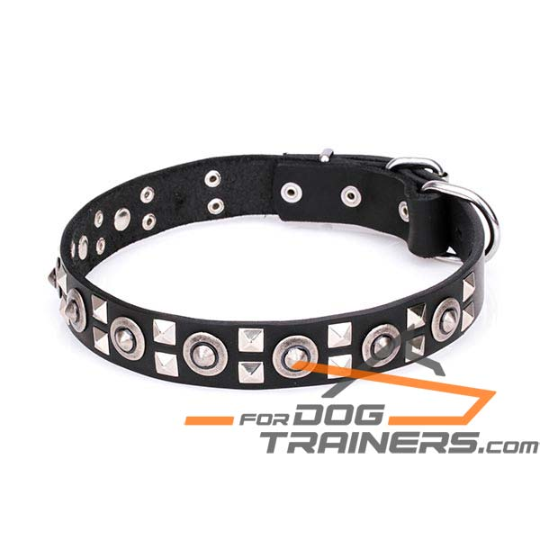 Leather Dog Collar with Silver-like Plated Adornment