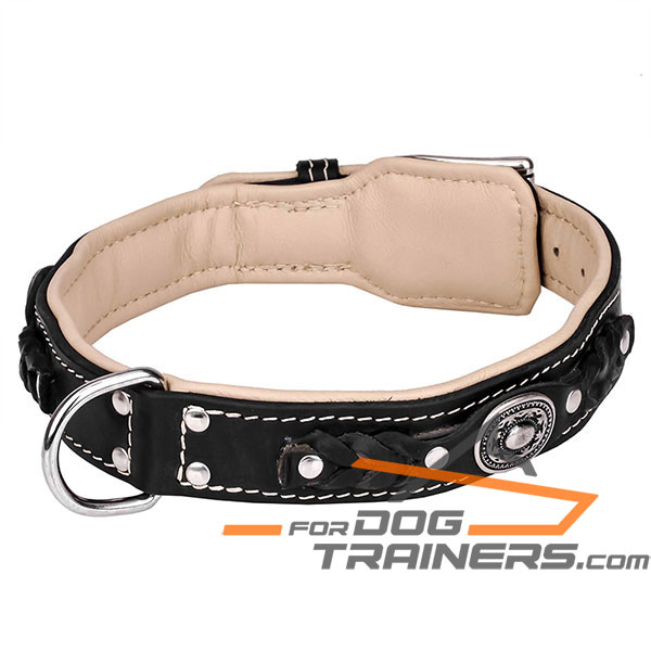 Extra soft black leather dog collar