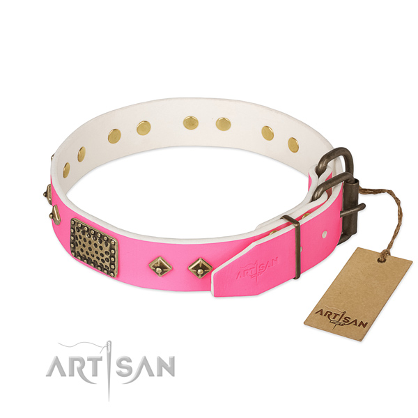 Comfortable buckled pink leather dog collar