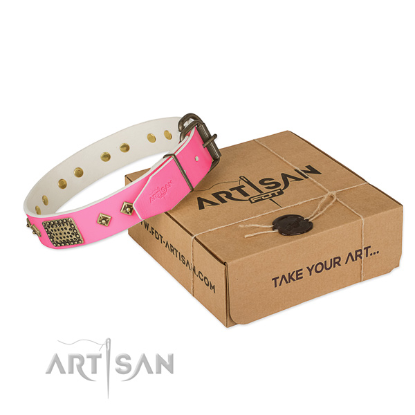 Pink leather dog collar with hand set studs