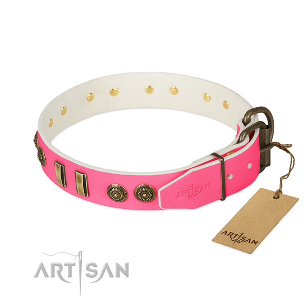 Pink leather dog collar with sturdy and reliable buckle