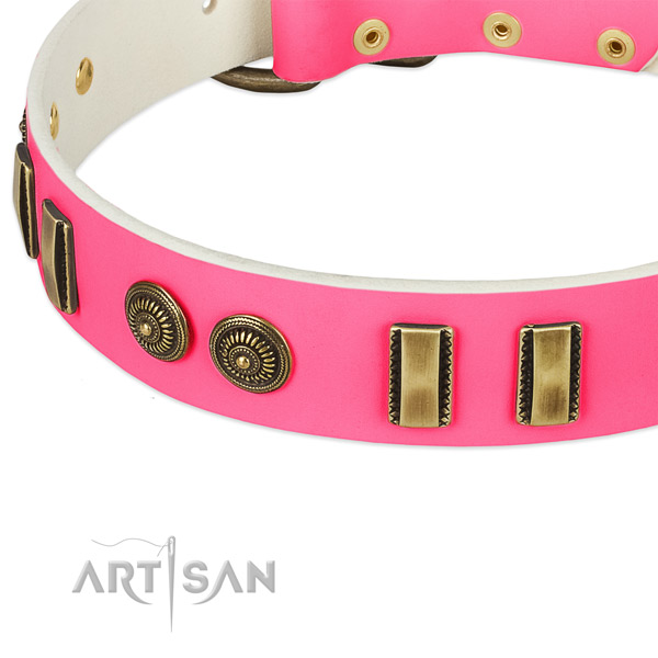 Reliable pink leather dog collar with old bronze look decorations
