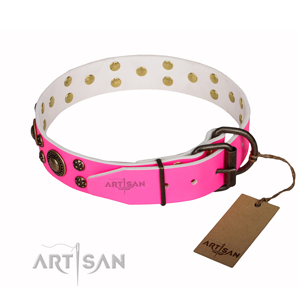 Extra sturdy pink leather dog collar