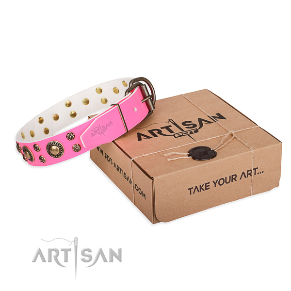 Decorated pink leather dog collar