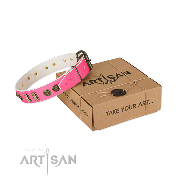 Awesome pink leather dog collar with decorations
