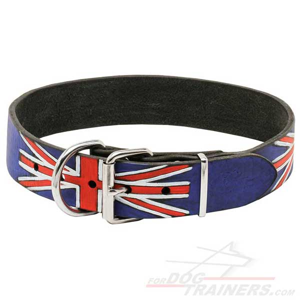 Leather Collar for Dog Walking equipped with metal buckle