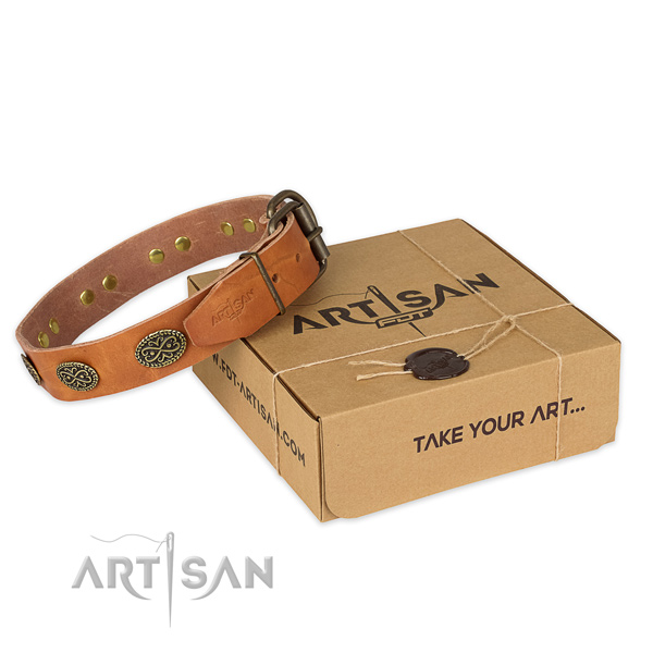 Safe for daily use tan leather dog collar