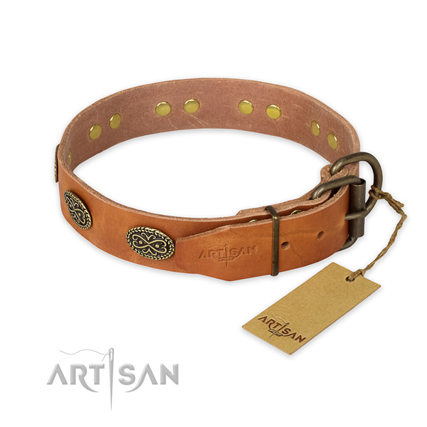 Extra strong tan leather dog collar