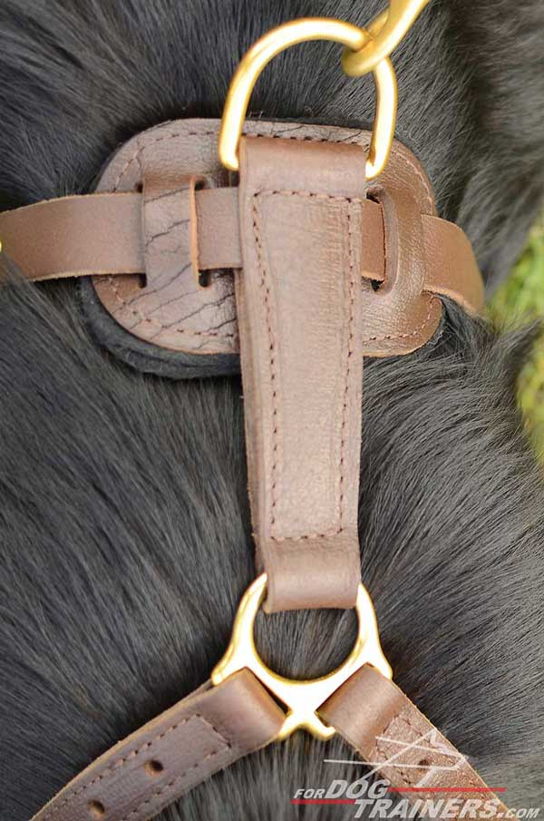 Soft Thick Felt Padded Back Plate of Leather German Shepherd Harness