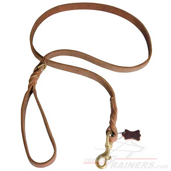 Leather Leash with Decorative Braids