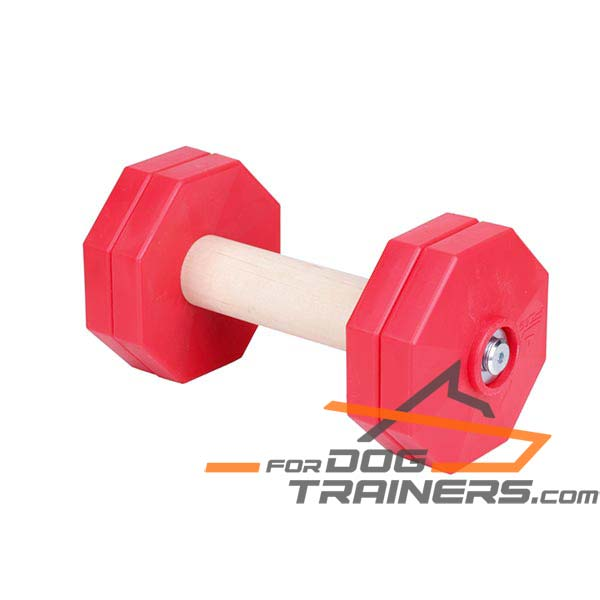 Hard Wood Dog Dumbbell with Removable Red Plates