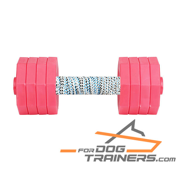 Hardwood Dog Training Dumbbell with Red Plates