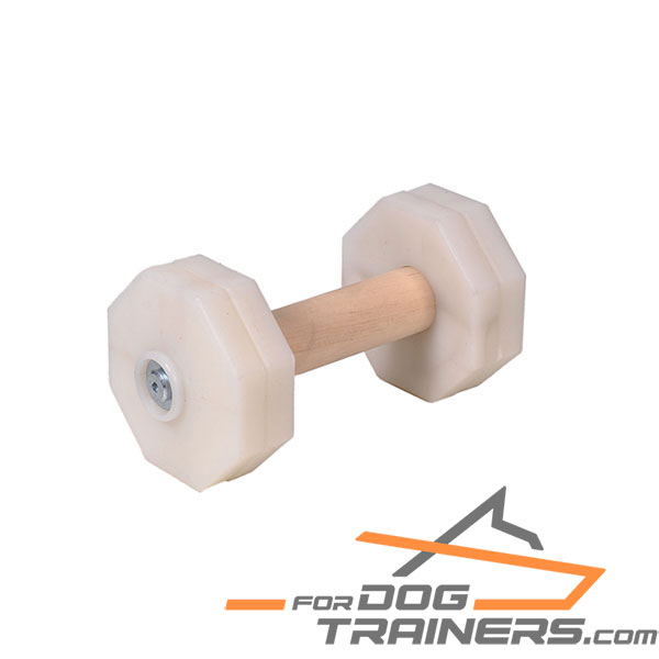 Sturdy wooden dog dumbbell