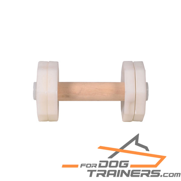 Resistant dog dumbbell with wooden stick