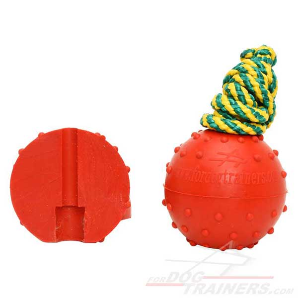 Rubber dog training ball red color