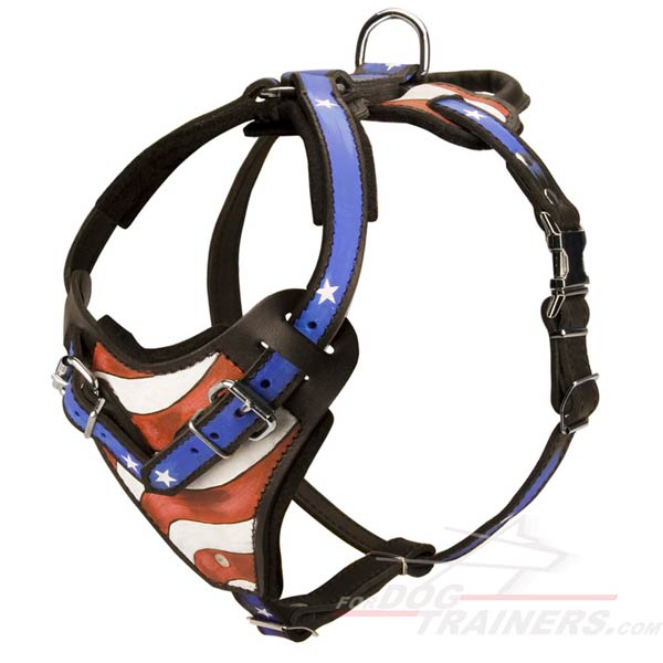 Easy Adjustable Leather Dog Harness for Attack Training