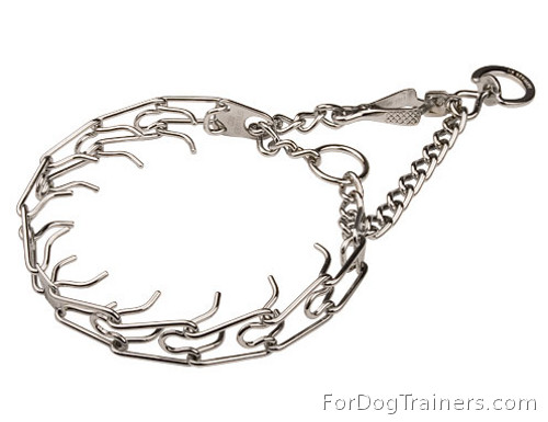 Dog Prong Collar with Swivel and Small Quick Release Snap Hook - 50146 (3.9mm) (1/6 inch) (Made in Germany)