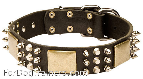 Wide Spiked Dog Leather Collar with Massive Plates and Cones