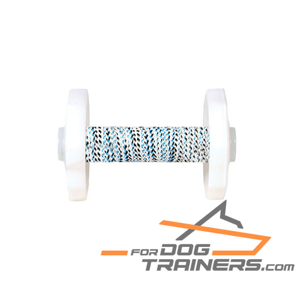 Dog Training Dumbbell with French Linen Covered Dowel