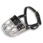 Wire Cage Dog Mouth Muzzle with Leather Straps and Soft Padding for Panting